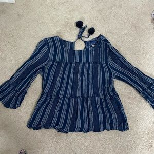 Blue Flowy Tiered Long Sleeve with White Stripes